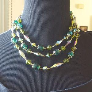 Vintage multistrand crystal necklace
